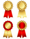 Award ribbon rosette in gold and red set of elegant rosettes shiny yellow isolated on white background Stock Image