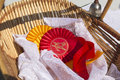 Award ribbon rosettes in horse show and equestrian Royalty Free Stock Photo