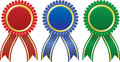 Award ribbons in different colors Stock Photo