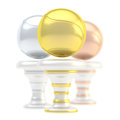 Award tennis sport trophy cup ball composition of golden silver and bronze cups isolated over white background Stock Images