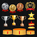 Award Trophies Vector Set. Achievement For 1st, 2nd, 3rd Place Ranks. Ceremony Placement Podium. Golden, Silver, Bronze
