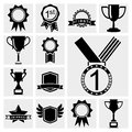Awards icons black set. Royalty Free Stock Photo