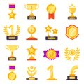 Awards icons. Trophy medal prize with ribbons for winners vector flat symbols isolated Royalty Free Stock Photo