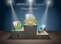 Awards for winners podium Stock Photos
