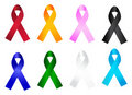 Awareness ribbon collection Stock Photography