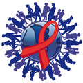 Awareness ribbons and earth society aids people on a white background Stock Images