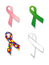 Awareness ribbons a group of on a white background Stock Image