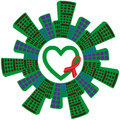 Awareness ribbons and heart green with ribbon social houses on a white background Stock Image