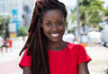 Awesome african woman with dreadlocks in the city Royalty Free Stock Photo