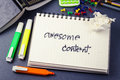 Awesome content handwriting of word in notebook for website concept Stock Photo