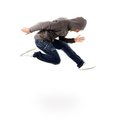 Awesome dancer is jumping very high Royalty Free Stock Photos