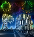 Awesome firework show at night over cityscape Stock Photos