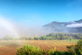 Awesome misty farm field against mountains shot near oudtshoorn western cape south africa Royalty Free Stock Images