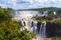 Awesome panorama view of iguassu falls waterfall in brazil is the largest series waterfalls on the planet located argentina and Stock Photography