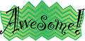 Awesome vector graphic the word in a fun and zany font on a green and yellow chevron background Stock Photography