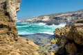 Awesome view on rocky beach between two rocks shot in de hoop nature reserve western cape south africa Royalty Free Stock Photography