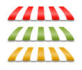 Awnings in Yellow Green and Red Stock Image