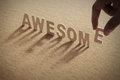 AWSOME wood word on compressed or corkboard