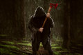 Ax killer in the rainy wood Royalty Free Stock Images