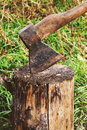 Ax in a log Stock Photo