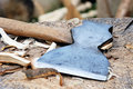 Axe on chopping block Royalty Free Stock Photos