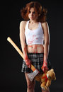 Axe girl Royalty Free Stock Images