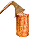 Axe in stump blood traces isolated view of hatchet the trunk with streams Royalty Free Stock Images