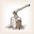 Axe in the stump hand drawn sketch style vector Royalty Free Stock Photo