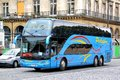 Ayats bravo paris france august blue touristic coach at the city street Royalty Free Stock Photography