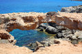 Ayia napa cyprus rocky coastline next to Royalty Free Stock Photo