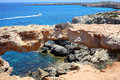 Ayia napa cyprus rocky coastline next to Stock Photography