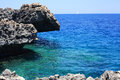 Ayia napa cyprus rocky coastline next to Royalty Free Stock Photography