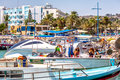 AYIA NAPA - JULY 16, 2016: Numerous fishing boats and yachts in port of Ayia Napa Royalty Free Stock Photo