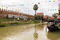 Ayothaya floating market wood bridge Royalty Free Stock Photography
