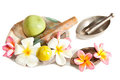 Ayurveda Healing herbs, fruits and  flowers  deco Stock Photo
