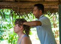 Ayurvedic head massage Royalty Free Stock Photo