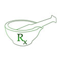 Ayurvedic mortar with rx in green symbol in between Royalty Free Stock Images