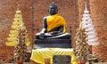 Ayutthaya ancient city ruins in Thailand, black Buddha statue Royalty Free Stock Photo