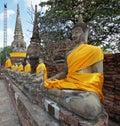 Ayutthaya thailand asia january buddha statues on temple wat yai chai mongkon on january in Royalty Free Stock Image