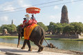 Ayutthaya thailand asia january tourists riding an elephant on january in Royalty Free Stock Photography