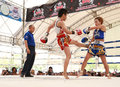 Ayutthaya thailand march women thai boxing match yordying sithmuaysiam thai vs little tiger japan world muay thai fight fastival Royalty Free Stock Photography