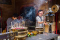 Ayutthaya, Thailand - October, 21, 2016 : Unidentified name people praying respect to god Jao Mae Soi Dork Mark Royalty Free Stock Photo