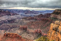 Az grand canyon national park s rim rim trail hiking the on a very overcast day was exciting waiting for a storm to Stock Photo