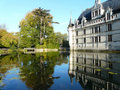 Azay le rideau castle and its reflection Royalty Free Stock Photography