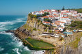 Azenhas do mar view of the touristic village of in portugal Stock Images