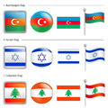 Azerbaijan and Israel, Lebanon Flag Icon Royalty Free Stock Photography