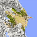 Azerbaijan, shaded relief map Royalty Free Stock Photo