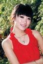 Aziatisch meisje in openlucht Royalty-vrije Stock Afbeelding