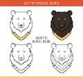 Azjatyckiej black bear set odizolowywająca twarz głowa niedźwiedź w kolorze Zdjęcia Stock