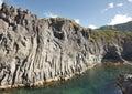 Azores basalt coastline in Sao Jorge. Faja do Ouvidor. Portugal Royalty Free Stock Photo